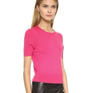 Short sleeve pink cashmere sweater